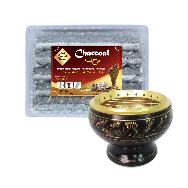 เตาเผาไม้หอม สีดำ ทอง กระถางธูป เครื่องหอมทุกชนิด ทำจากทองเหลืองแท้ + ถ่าน ถ่านเผา ถ่านไม้ ถ่านพิเศษ ชาโคล สำหรับจุดไฟเผา 1 กล่อง