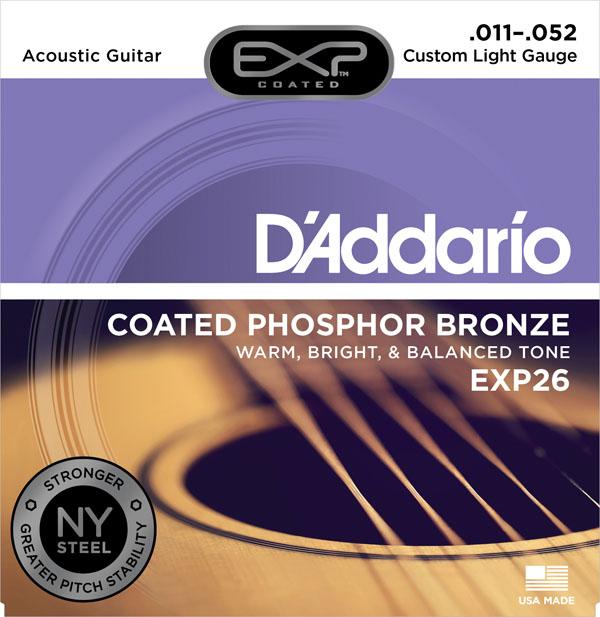 สายกีต้าร์โปร่ง D'Addario EXP26, Coated, Phosphor Bronze, เบอร์ 11-52