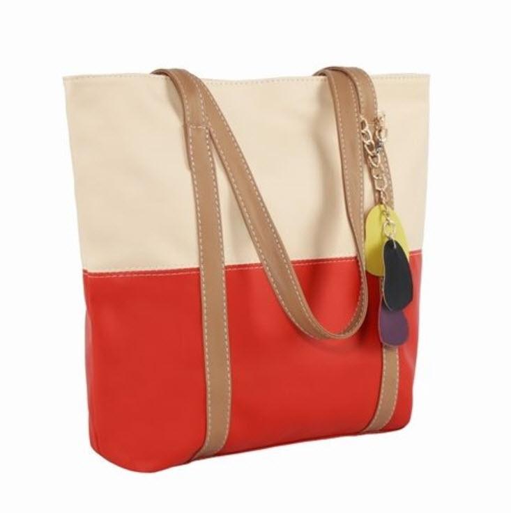 กระเป๋าสะพายหนัง สีเบจ-ส้ม