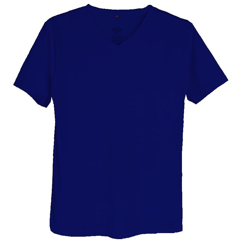 เสื้อยืดสีพื้นไม่สกรีน คอวี สีกรมท่า