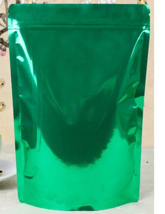 ถุงฟอยด์ ก้นตั้ง ติดซิบ ขนาด18x26cm สีเขียว แพค50ใบ