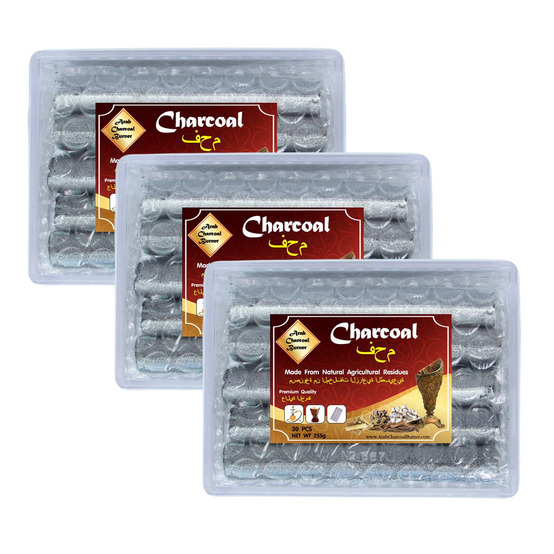 Arab Charcoal Burner ถ่านพิเศษ ชาโคล สำหรับจุดไฟเผา ไม้กฤษณา ไม้จันทน์ กำยาน มดยอบ ยางไม้หอมทุกชนิด ทำจากธรรมชาติ 100% ไร้กลิ่น ไร้ควัน ไม่มีประกายไฟ ปลอดภัย ไร้สารเคมี จุดนานถึง 4-5 ชม ต่อชิ้น - 3 กล่อง