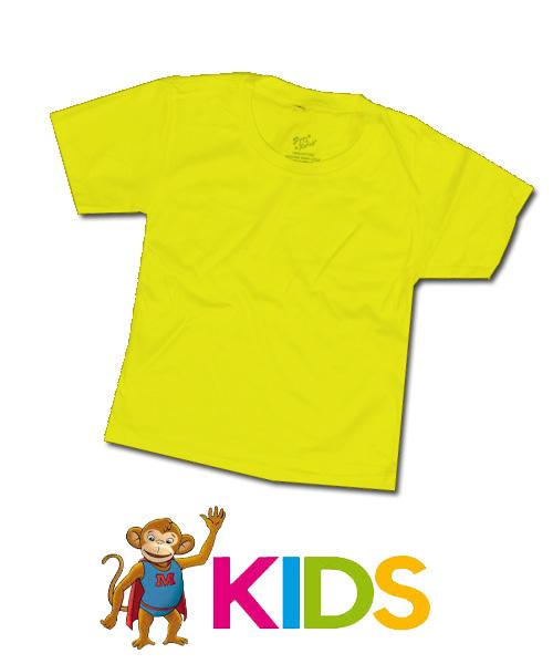 เสื้อยืดเด็กสีพื้นไม่สกรีน สีเหลือง