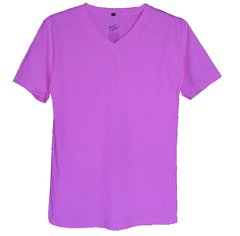เสื้อยืดสีพื้นไม่สกรีน คอวี สีม่วง