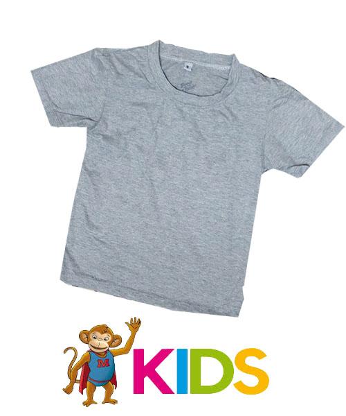 เสื้อยืดเด็กสีพื้นไม่สกรีน สีเทาท้อปดราย์