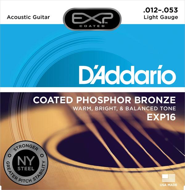 สายกีต้าร์โปร่ง D'Addario EXP16, Coated, Phosphor Bronze, เบอร์ 12-53