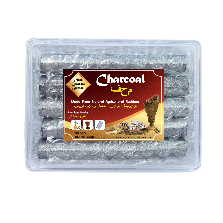Arab Charcoal Burner ถ่านพิเศษ ชาโคล สำหรับจุดไฟเผา ชิช่า บารากุ ทำจากธรรมชาติ 100% ไร้กลิ่น ไร้ควัน ไม่มีประกายไฟ ปลอดภัย ไร้สารเคมี จุดนานถึง 3 ชมต่อชิ้น - 1 กล่อง