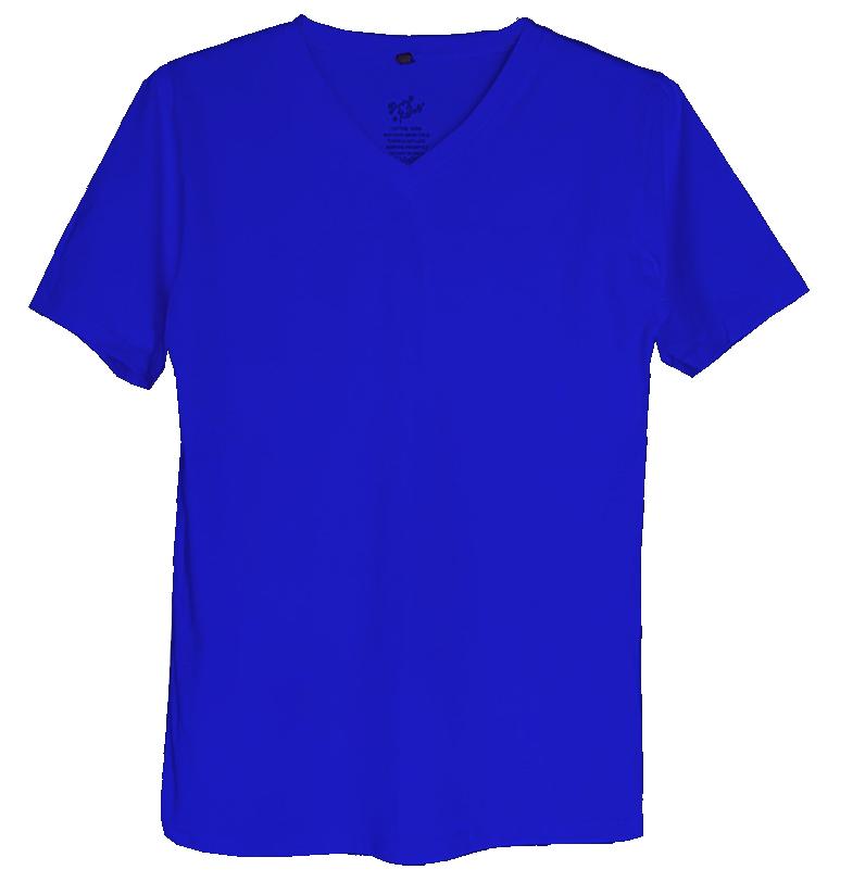 เสื้อยืดสีพื้นไม่สกรีน คอวี สีน้ำเงิน