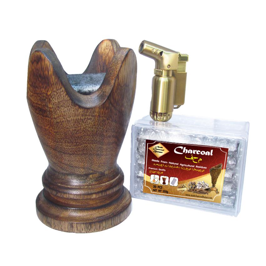 เตาเผาไม้หอม เตาเครื่องหอม ไม้กฤษณา ไม้จันทน์ กำยาน มดยอบ ชิ้นไม้ ยางไม้เรซิ่น ทำจากไม้เนื้อแข็งแท้100% + ถ่าน ถ่านเผา ถ่านไม้ ถ่านพิเศษ ชาโคล สำหรับจุดไฟเผา 1 กล่อง + ไฟแช็คไอพ่น ไฟฟู่ คุณภาพสูง 1 ชิ้น