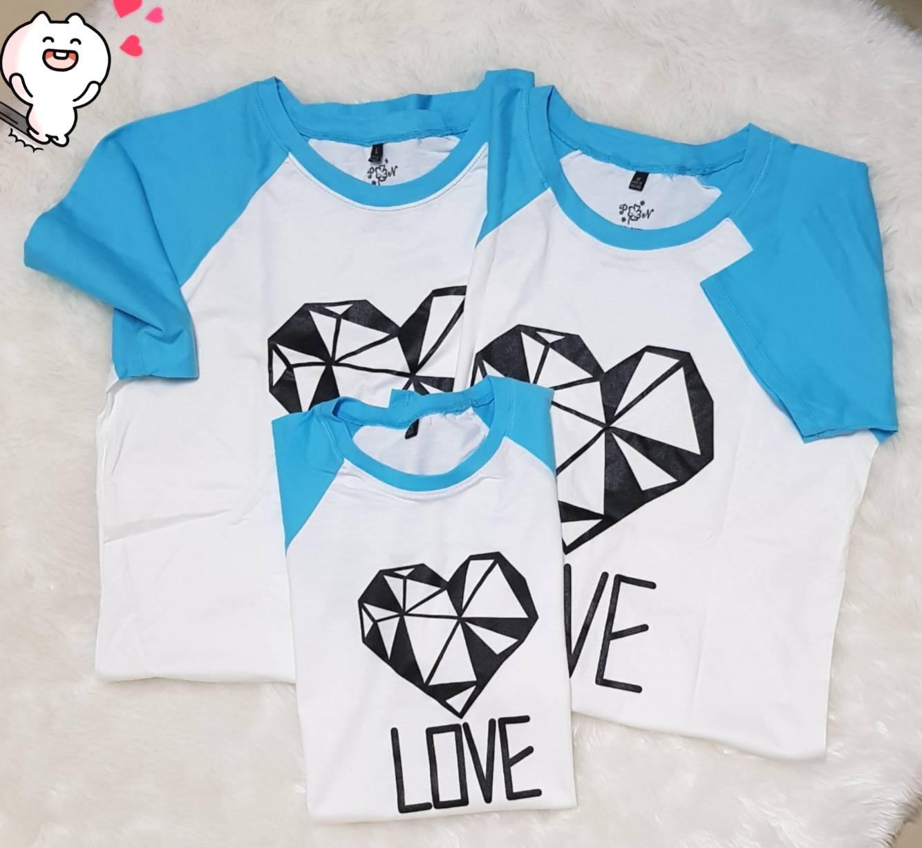 เสื้อครอบครัว เซท พ่อแม่ลูก 3ตัว Cotton100% ลายหัวใจเพชร