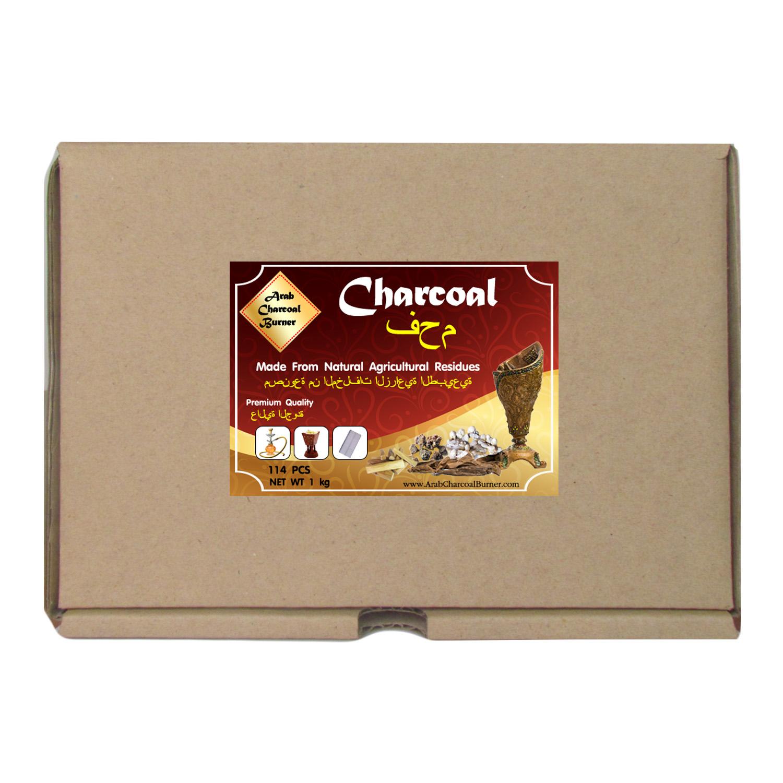 Arab Charcoal Burner ถ่านพิเศษ ชาโคล สำหรับจุดไฟเผา ชิช่า บารากุ ทำจากธรรมชาติ 100% ไร้กลิ่น ไร้ควัน ไม่มีประกายไฟ ปลอดภัย ไร้สารเคมี จุดนานถึง 4-5 ชมต่อชิ้น - 1 กิโลกรัม