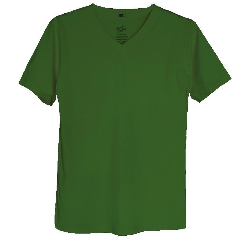 เสื้อยืดสีพื้นไม่มีสกรีน คอวี สีเขียวทหาร รด.