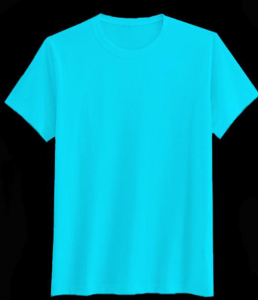 เสืื้อสีพื้นไม่สกรีนคอกลมสีฟ้า