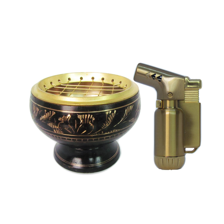 เตาเผาไม้หอม สีดำ ทอง กระถางธูป เครื่องหอมทุกชนิด ทำจากทองเหลืองแท้ + ไฟแช็คไอพ่น ไฟฟู่ หัวพ่น 1ชิ้น
