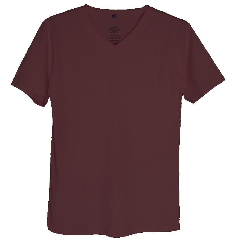 เสื้อยืดสีพื้นไม่สกรีน คอวี สีน้ำตาล