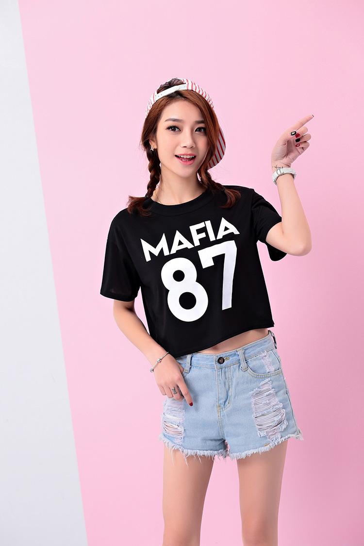 เสื้อแฟชั่นเกาหลี ครอปสีดำ สกรีนลาย mafia 87