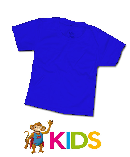 เสื้อยืดเด็กสีพื้นไม่สกรีน สีน้ำเงิน