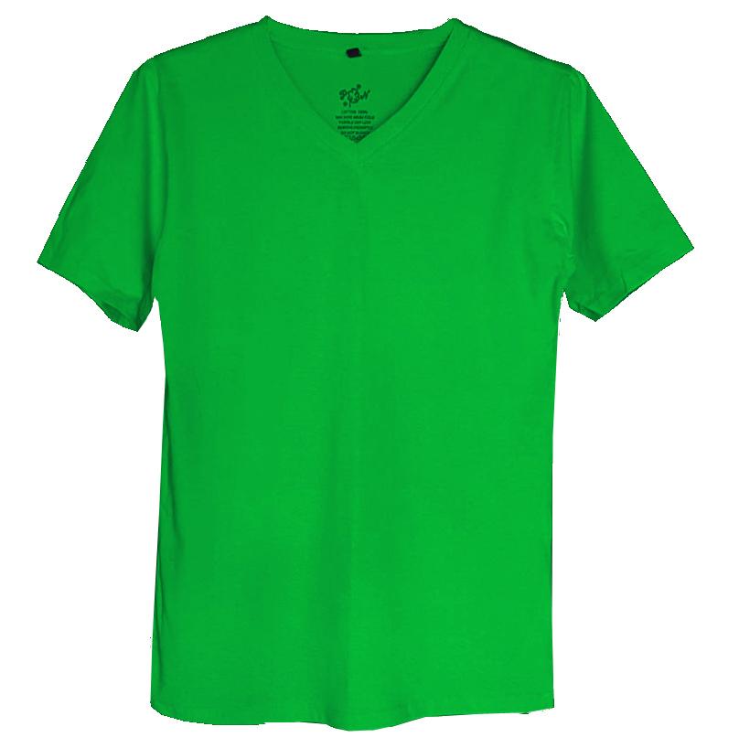 เสื้อยืดสีพื้นไม่สกรีน คอวี สีเขียวไมโล
