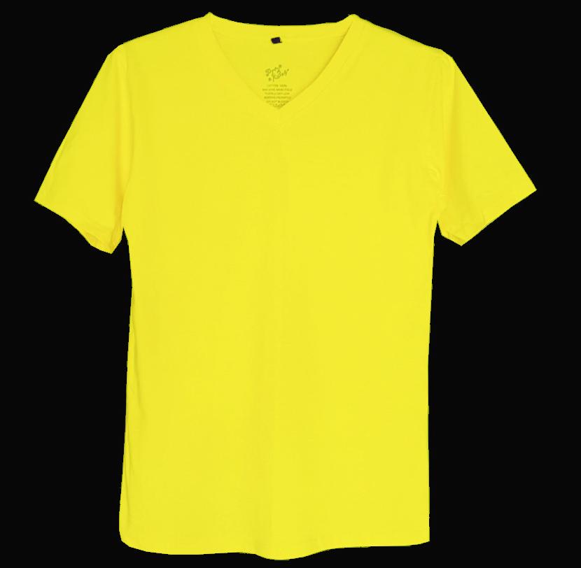 เสื้อยืดสีพื้นไม่สกรีน คอวี สีเหลือง