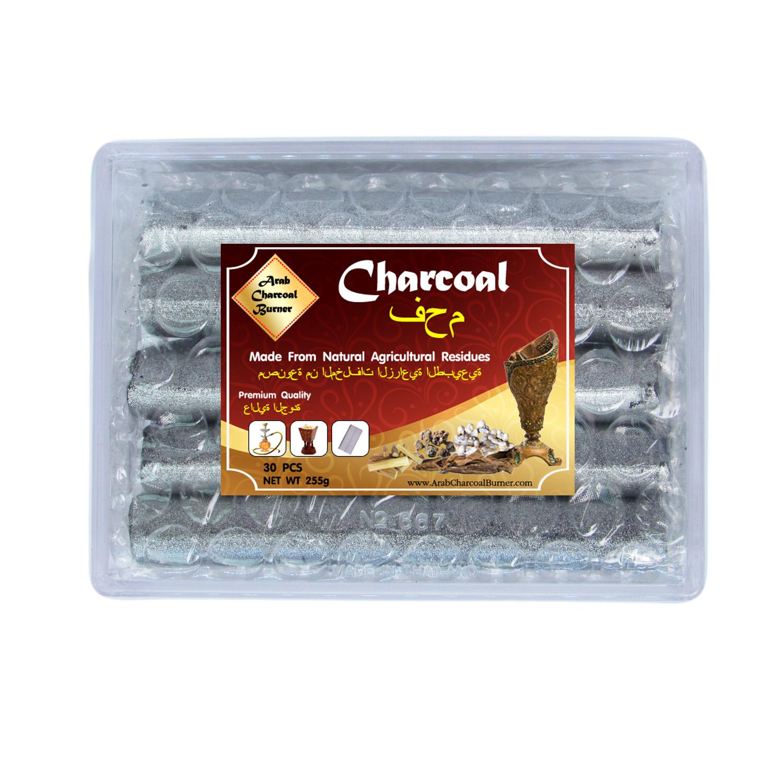 Arab Charcoal Burner ถ่าน ถ่านเผา ถ่านไม้ ถ่านพิเศษ ชาโคล สำหรับจุดไฟเผา ไม้กฤษณา ไม้จันทน์ กำยาน มดยอบ ยางไม้หอมทุกชนิด ทำจากธรรมชาติ 100% ไร้กลิ่น ไร้ควัน ไม่มีประกายไฟ ปลอดภัย ไร้สารเคมี จุดนานถึง 4-5 ชมต่อชิ้น - 1 กล่อง