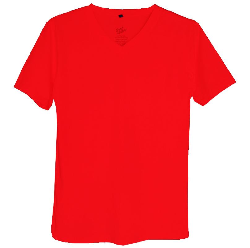 เสื้อยืดสีพื้นไม่สกรีน คอวี สีแดง