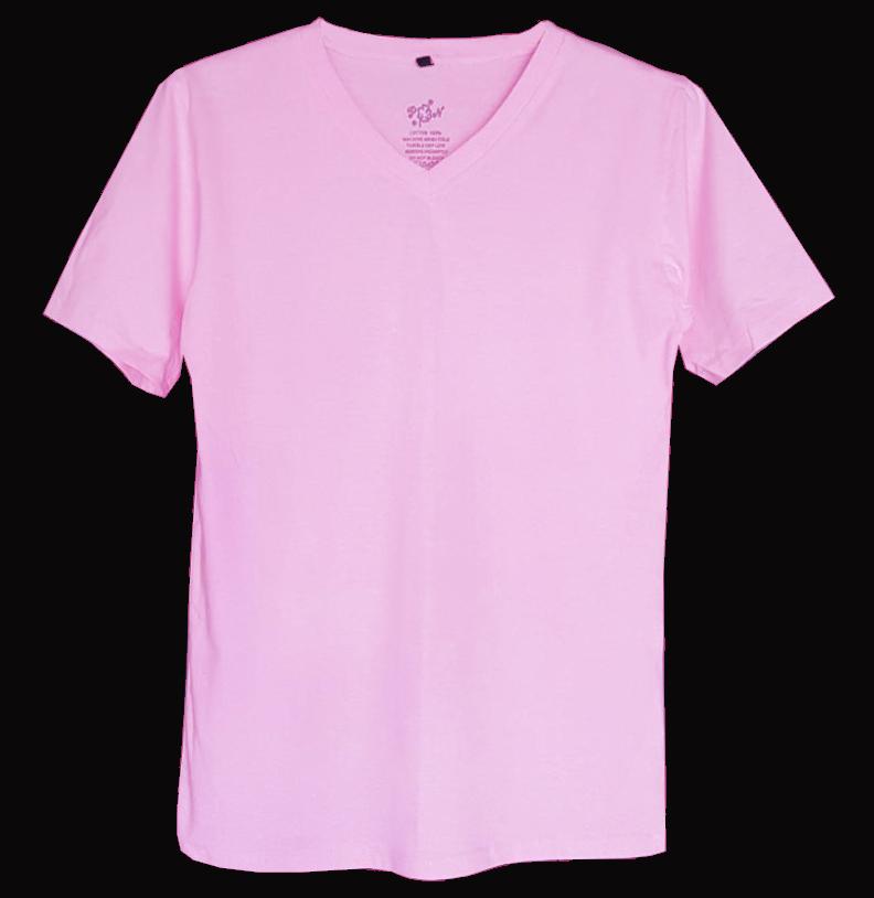 เสื้อยืดสีพื้นไม่สกรีน คอวีสีชมพูอ่อน