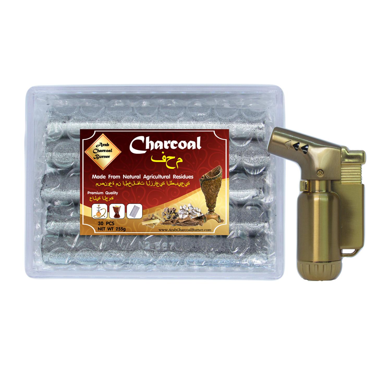 Arab Charcoal Burner ถ่านพิเศษ ชาโคล สำหรับจุดไฟเผา ไม้กฤษณา ไม้จันทน์ กำยาน มดยอบ ยางไม้หอมทุกชนิด ทำจากธรรมชาติ 100% ไร้กลิ่น ไร้ควัน ไม่มีประกายไฟ ปลอดภัย ไร้สารเคมี 100% + ไฟแช็คไอพ่น ไฟฟู่ คุณภาพสูง ให้ไฟเสถียร สม่ำเสมอ ปรับระดับได้ วัสดุเหล็ก สีทอง
