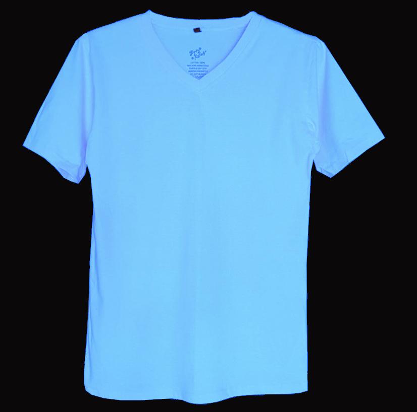 เสื้อยืดสีพื้นไม่สกรีน คอวีสีฟ้า