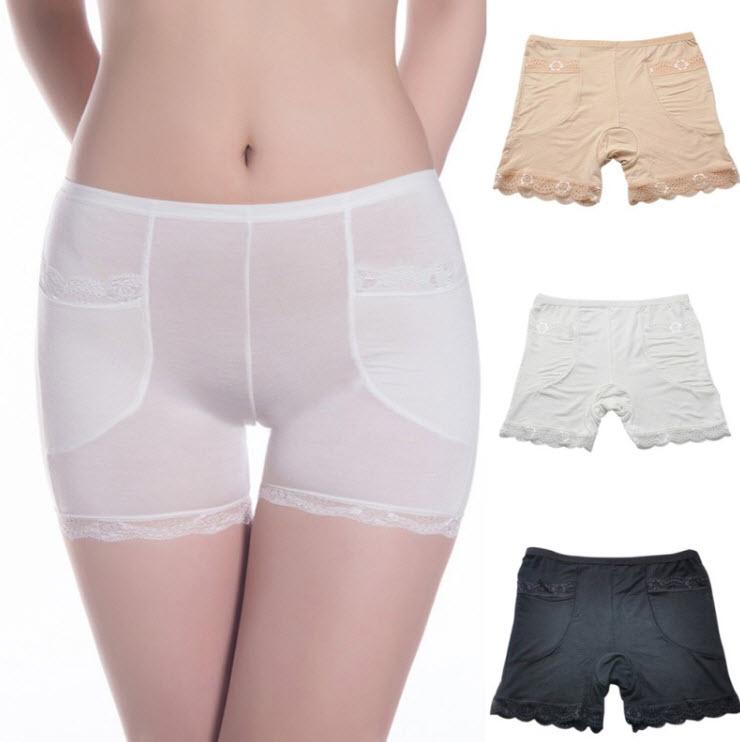 กางเกงชั้นในกันโป๊แซมลูกไม้ สีขาว