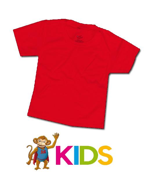 เสื้อยืดเด็กสีพื้นไม่สกรีน สีแดง