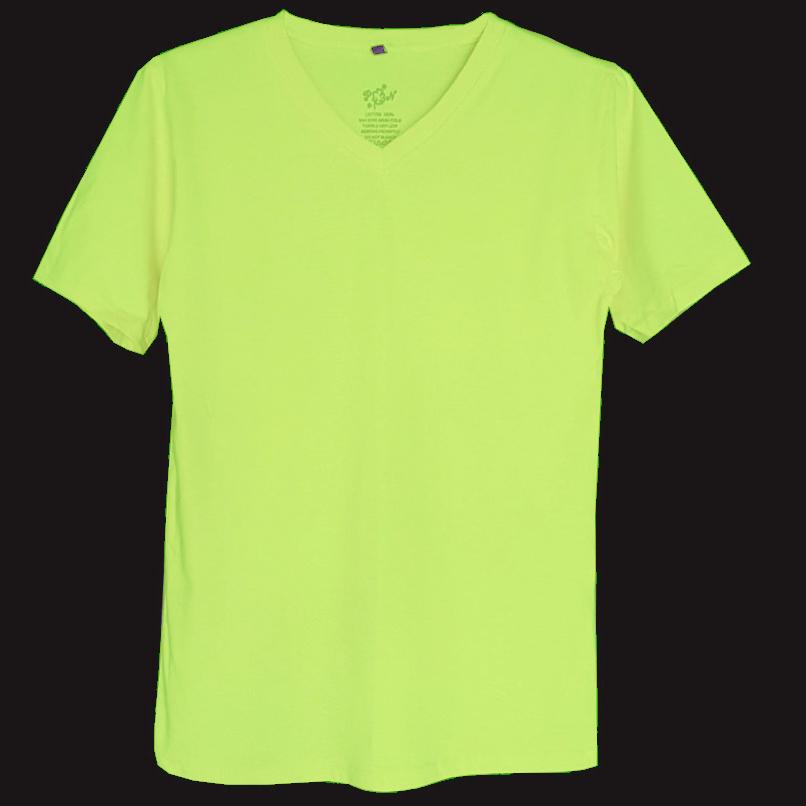 เสื้อยืดสีพื้นไม่สกรีน คอวี สีเขียวอ่อน