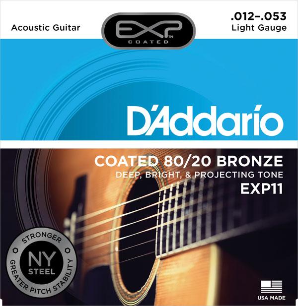 สายกีต้าร์โปร่ง D'Addario EXP11, Coated, 80/20 Bronze, เบอร์ 12-53