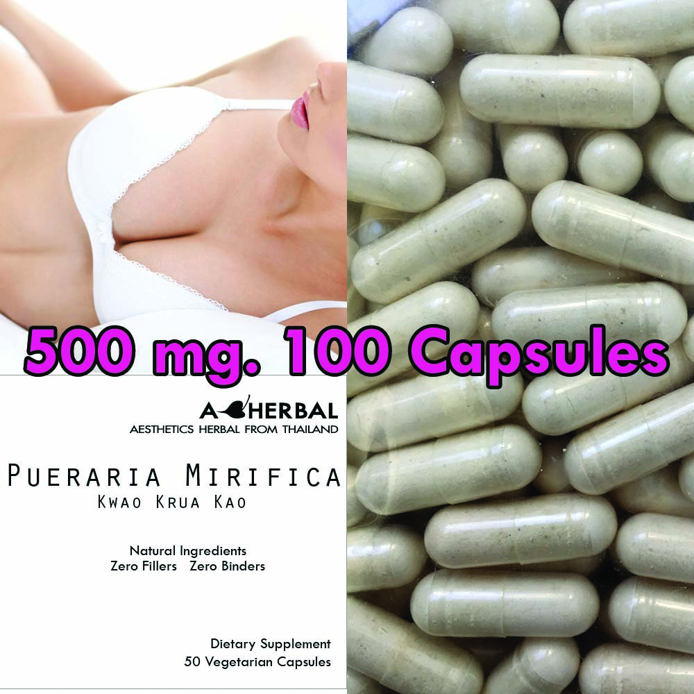 PUERARIA MIRIFICA NATURAL BREAST BUST ENLARGEMENT 100 CAPSULES 500 mg.