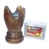 เตาเผาไม้หอม เตาเครื่องหอม ไม้กฤษณา ไม้จันทน์ กำยาน มดยอบ ชิ้นไม้ ยางไม้เรซิ่น ทำจากไม้เนื้อแข็งแท้100% + ถ่านพิเศษ ชาโคล สำหรับจุดไฟเผา 1 กล่อง