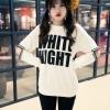 เสื้อแฟชั่นเกาหลี แขนยาว สีขาว สกรีนลาย White night