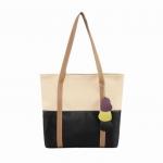 กระเป๋าสะพายหนัง สีเบจ-ดำ