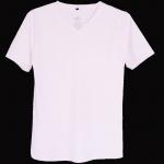 เสื้อยืดสีพื้นไม่สกรีน คอวี สีขาว