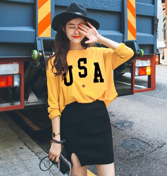 เสื้อแฟชั่น คอกลม แขนยาว ลาย usa สีเหลือง