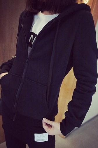 เสื้อกันหนาวแฟชั่น มีฮูด แขนยาว ซิปหน้า สีดำ