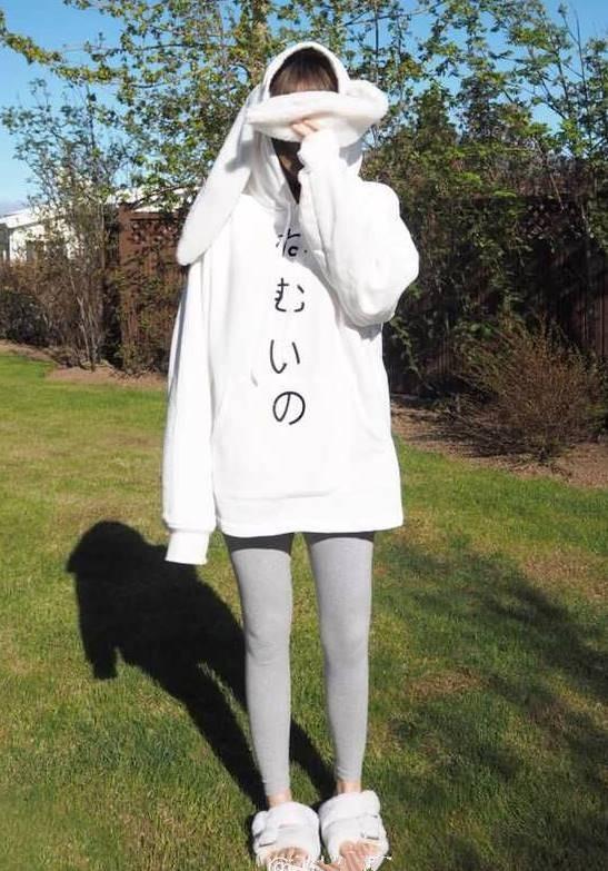 เสื้อกันหนาวแฟชั่น แขนยาว บุกันหนาว ผ้าฝ้าย แต่งฮูดหูกระต่าย สีขาว