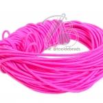 ยางยืด เส้นกลม 1.5มม. สีชมพูสะท้อน (10 หลา)