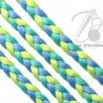เชือกเปียสาม 6มม. สีน้ำเงิน-เขียวมิ้นท์-เขียว (1 หลา)