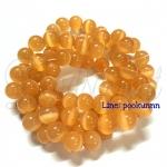 หิน Cat's Eyes 10มิล สีส้ม (38 เม็ด)