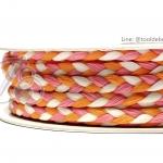 เชือกเปียสาม 6มม. สีส้ม-ชมพู-ขาว (18 หลา)