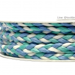 เชือกเปียสาม 6มม. สีน้ำเงิน-เขียวมิ้น-ขาว (18 หลา)