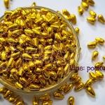 ลูกปัดพลาสติก 5*9มม. ลายหยดน้ำ สีทอง (100 กรัม)