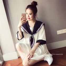 เสื้อแฟชั่น สไตล์กะลาสี ทรง oversize สีขาว