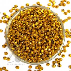ลูกปัดพลาสติก 5มม. เจียเหลี่ยม สีทอง (500 กรัม)