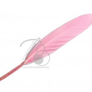 ขนนก 15ซม. ปลายมน สีชมพู (5 ชิ้น)