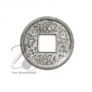 ลูกปัดโรเดียม 156 15มม. ลายเหรียญ (1 ชิ้น)